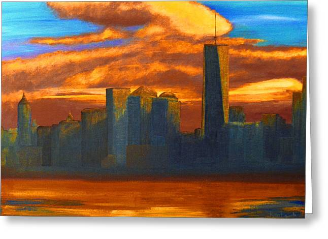 Freedom Park Paintings Greeting Cards - New York City Skyline Painting Greeting Card by Ken Figurski