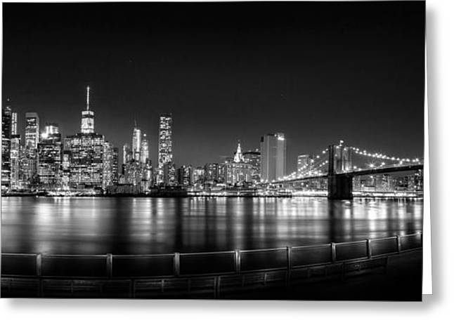 New York City Skyline Photographs Greeting Cards - New York City Skyline Panorama At Night BW Greeting Card by Az Jackson