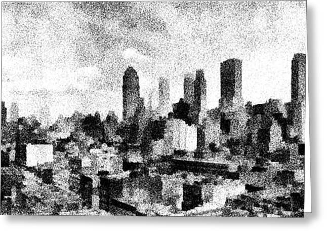 Cities Drawings Greeting Cards - New York City Skyline Sketch Greeting Card by Edward Fielding