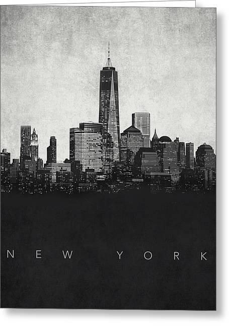 Film Noir Digital Greeting Cards - New York City Skyline - Urban Noir Greeting Card by World Art Prints And Designs