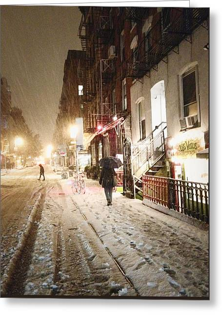 In-city Greeting Cards - New York City - Snow - Night Greeting Card by Vivienne Gucwa