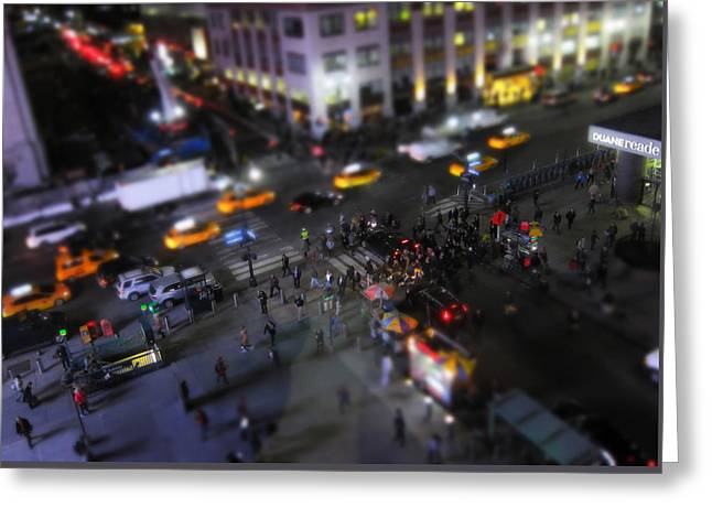 People Greeting Cards - New York City Street Miniature Greeting Card by Nicklas Gustafsson