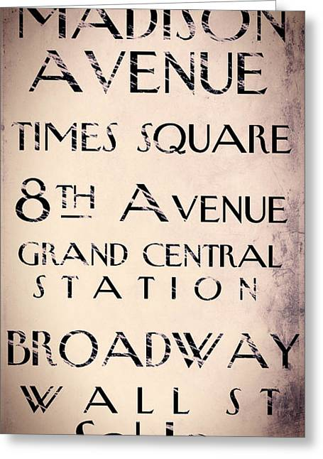 Central Park West Greeting Cards - New York City Street Sign Greeting Card by Mindy Sommers