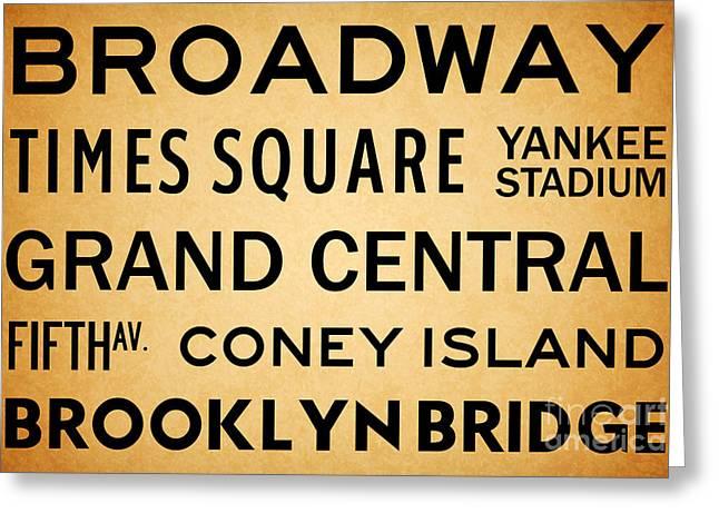 New York City Subway Sign Typography Art 1 Greeting Card by Nishanth Gopinathan