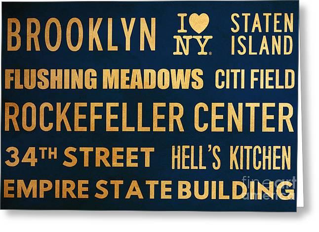 New York City Subway Sign Typography Art 16 Greeting Card by Nishanth Gopinathan