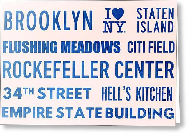 New York City Subway Sign Typography Art 17 Greeting Card by Nishanth Gopinathan