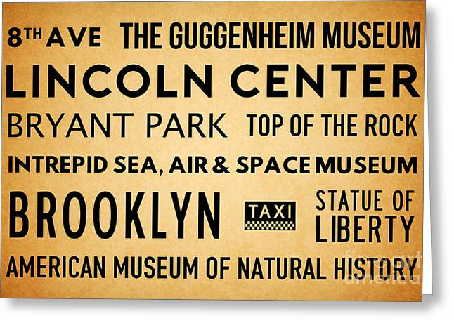 New York City Subway Sign Typography Art 19 Greeting Card by Nishanth Gopinathan