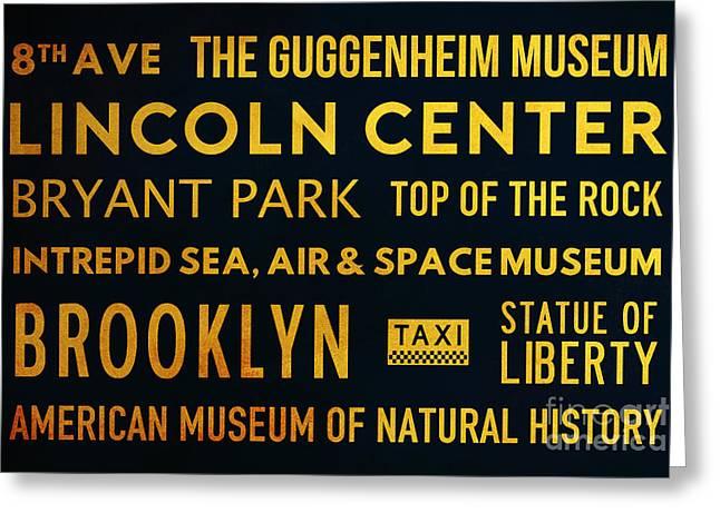 New York City Subway Sign Typography Art 20 Greeting Card by Nishanth Gopinathan