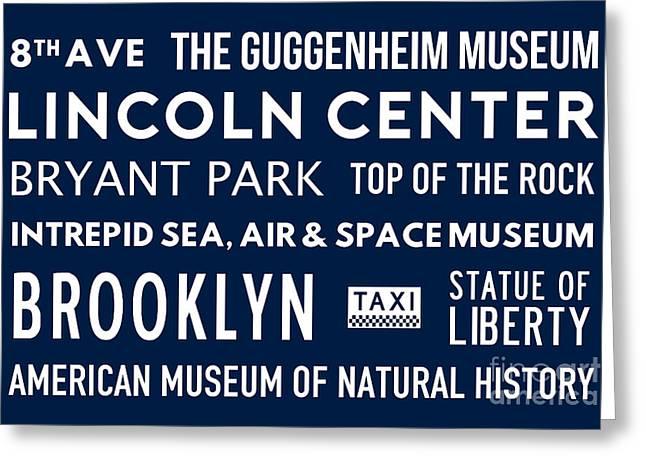 New York City Subway Sign Typography Art 24 Greeting Card by Nishanth Gopinathan