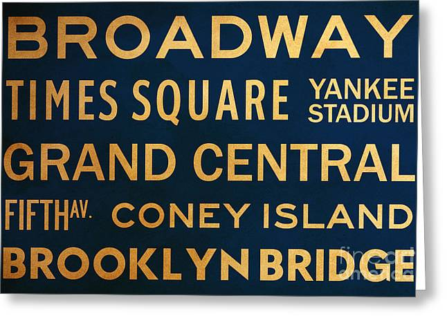 New York City Subway Sign Typography Art 4 Greeting Card by Nishanth Gopinathan