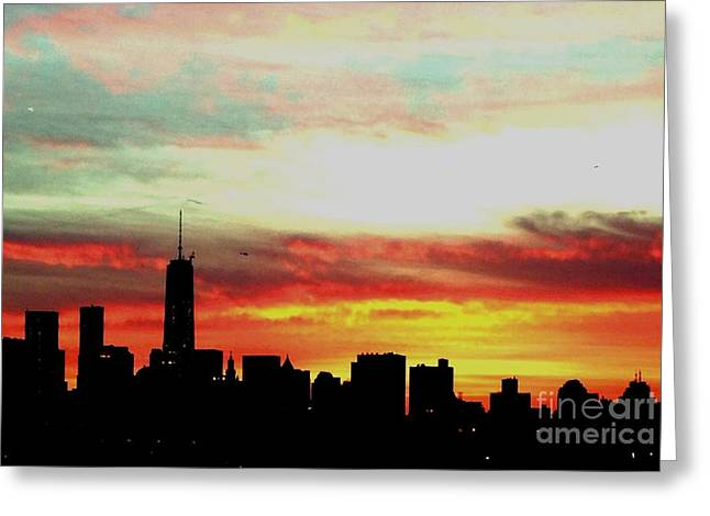 New Mind Greeting Cards - New York City Sunset Greeting Card by Kate Miteva