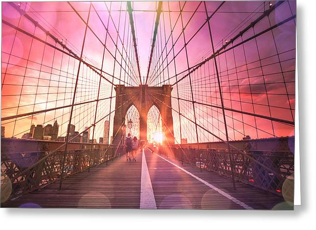 Pretty Greeting Cards - New York City - Sunset on the Brooklyn Bridge Greeting Card by Vivienne Gucwa
