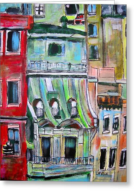 Litvack Greeting Cards - New York City Tenements Greeting Card by Michael Litvack
