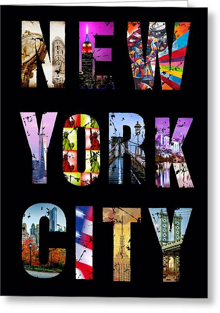 Nyc Posters Greeting Cards - New York City Text 1 Greeting Card by Az Jackson