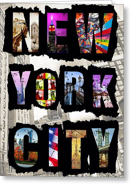Nyc Posters Greeting Cards - New York City Text 2 Greeting Card by Az Jackson
