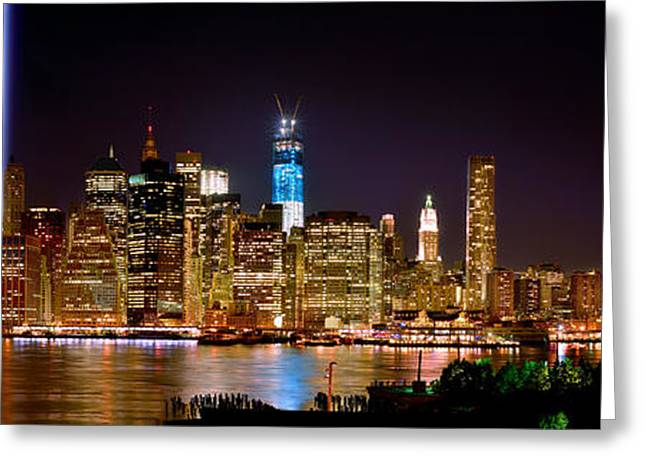 Nyc Architecture Greeting Cards - New York City Tribute in Lights and Lower Manhattan at Night NYC Greeting Card by Jon Holiday
