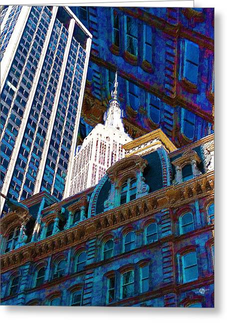 City Art Greeting Cards - New York City Up Is Down Down Is Up Blue Greeting Card by Tony Rubino