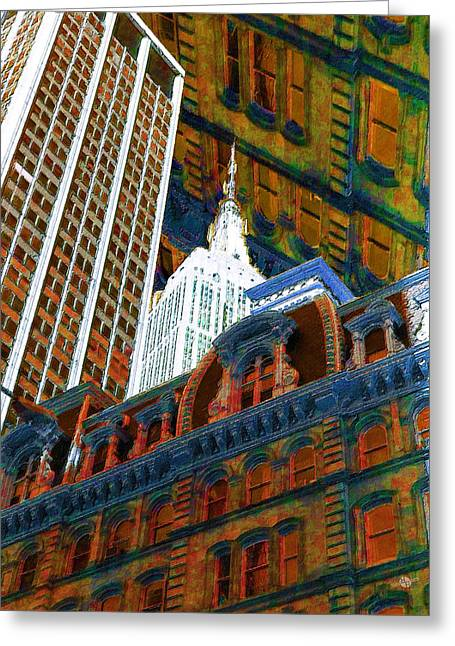 City Art Greeting Cards - New York City Up Is Down Down Is Up Orange Greeting Card by Tony Rubino