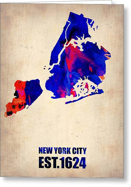 Cities Greeting Cards - New York City Watercolor Map 1 Greeting Card by Naxart Studio