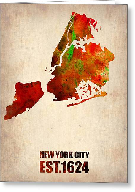 Cities Greeting Cards - New York City Watercolor Map 2 Greeting Card by Naxart Studio
