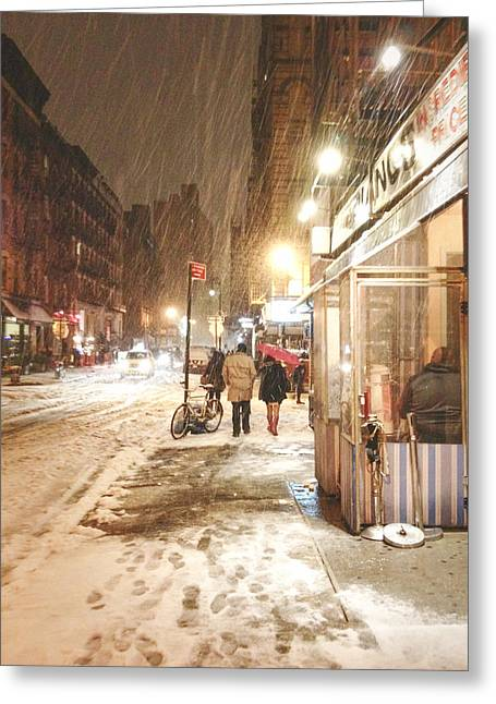 In-city Greeting Cards - New York City - Winter Night - Snow in the City Greeting Card by Vivienne Gucwa