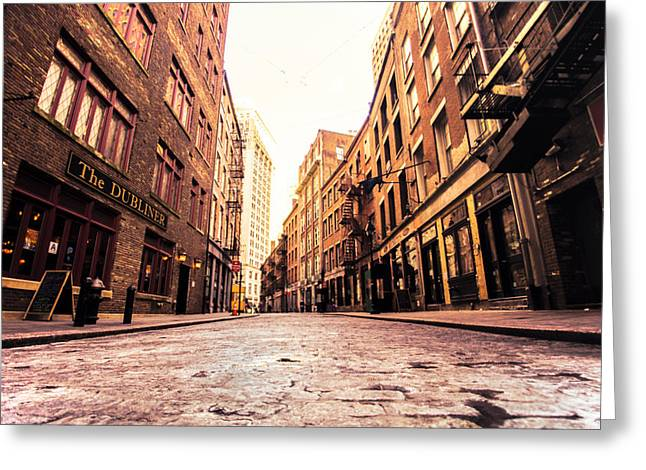 Cobblestone Greeting Cards - New York Citys Stone Street Greeting Card by Vivienne Gucwa