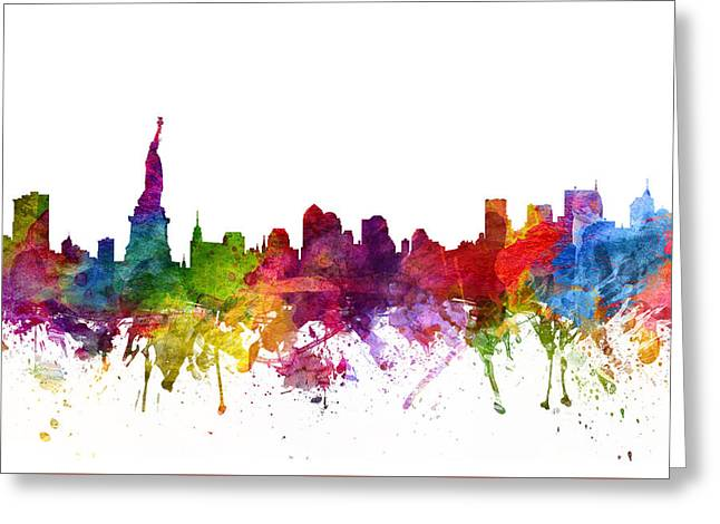 Skylines Drawings Greeting Cards - New York Cityscape 06 Greeting Card by Aged Pixel