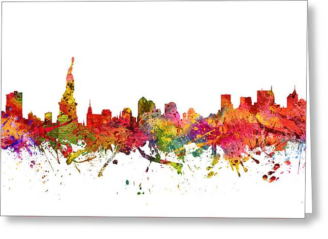 Cities Drawings Greeting Cards - New York Cityscape 08 Greeting Card by Aged Pixel