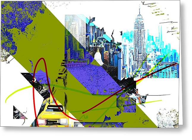 Surreal Geometric Greeting Cards - New York Collage Greeting Card by Piero  Manrique