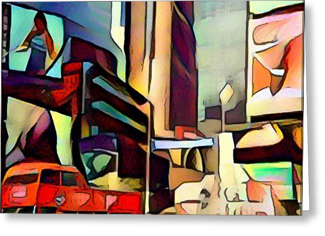 New York Cubism Greeting Card by Yury Malkov