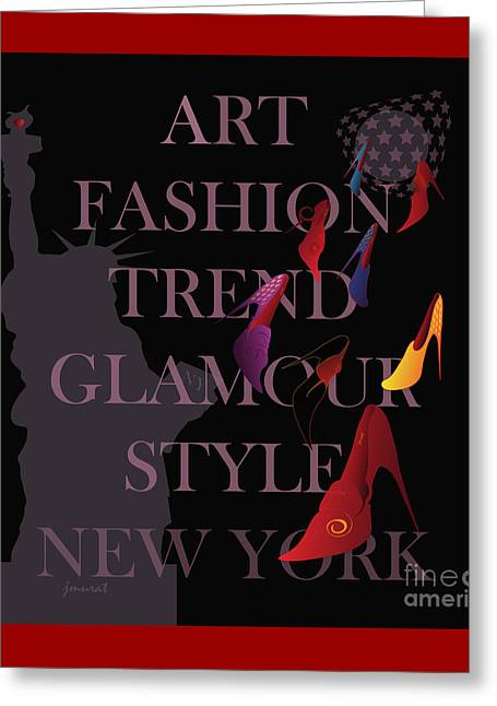 High Heels Abstract Art Greeting Cards - New York Fashion 5 Greeting Card by Johannes Murat