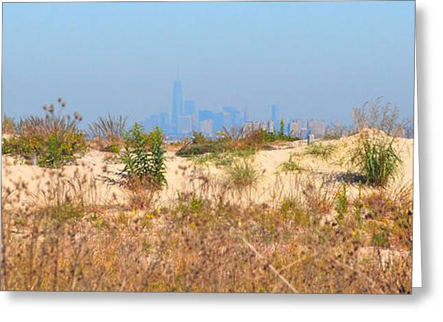 York Beach Greeting Cards - New York from Sandy Hook Greeting Card by Robert Burt