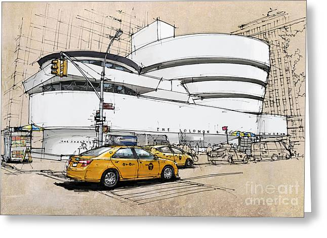 New York Guggenheim, Umbrellas And Yellow Cabs Greeting Card by Pablo Franchi
