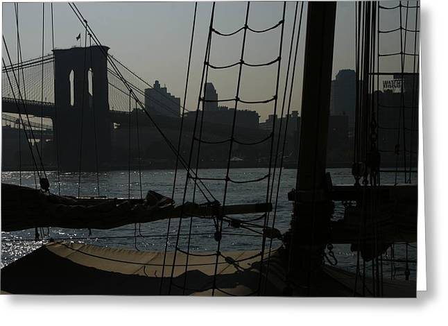 Pier 17 Greeting Cards - New York Harbor Haze Greeting Card by Christopher Kirby