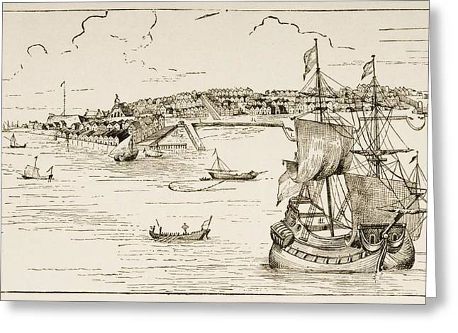 Port Town Drawings Greeting Cards - New York In 1673. From American Greeting Card by Ken Welsh
