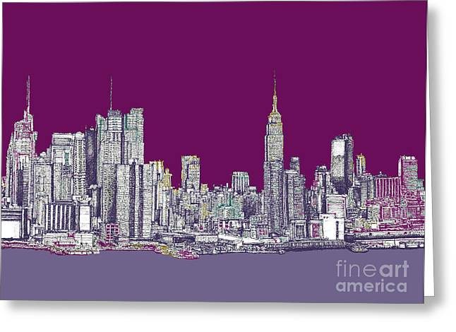 Hip Drawings Greeting Cards - New York in purple Greeting Card by Lee-Ann Adendorff