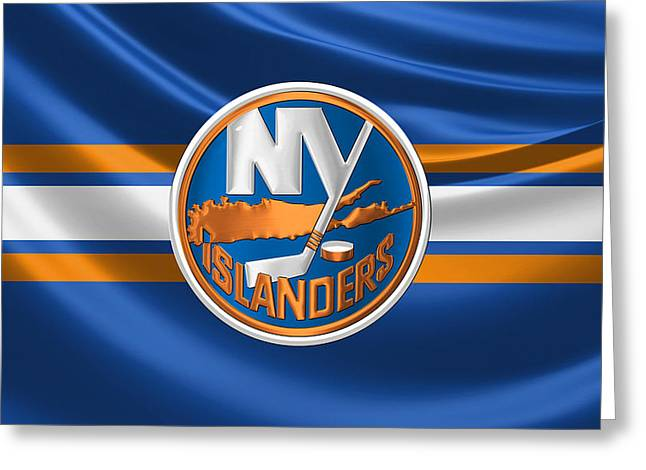 New York Islanders - 3 D Badge Over Silk Flag Greeting Card by Serge Averbukh