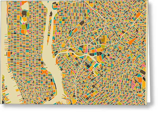 Streets Digital Greeting Cards - New York Map Greeting Card by Jazzberry Blue