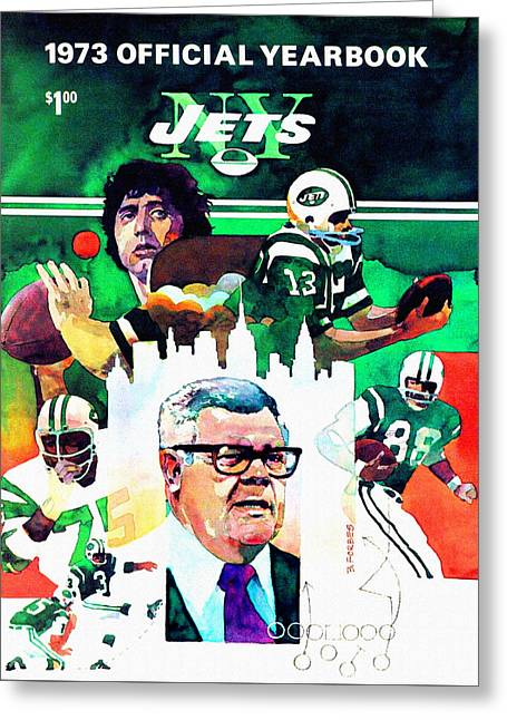 Shea Stadium Paintings Greeting Cards - New York Jets 1973 Yearbook Greeting Card by Big 88 Artworks