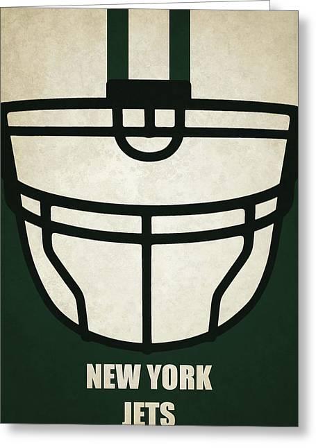 New York Jets Helmet Art Greeting Card by Joe Hamilton