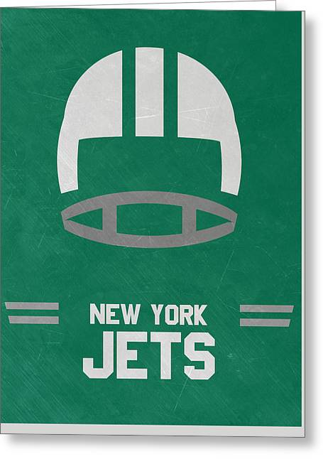 New York Jets Vintage Art Greeting Card by Joe Hamilton