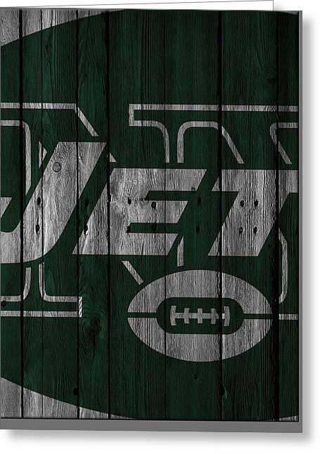 New York Jets Wood Fence Greeting Card by Joe Hamilton