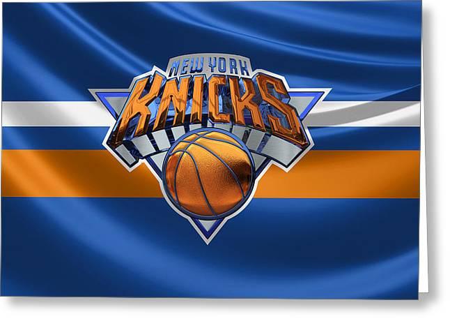 New York Knicks - 3 D Badge Over Flag Greeting Card by Serge Averbukh