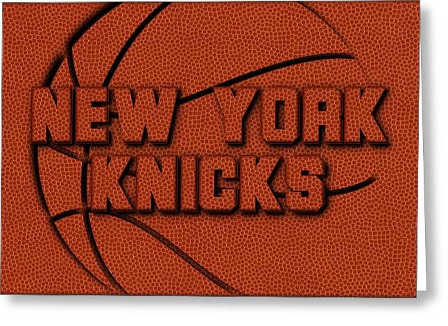 New York Knicks Leather Art Greeting Card by Joe Hamilton