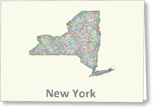 New York Line Art Map Greeting Card by David Zydd