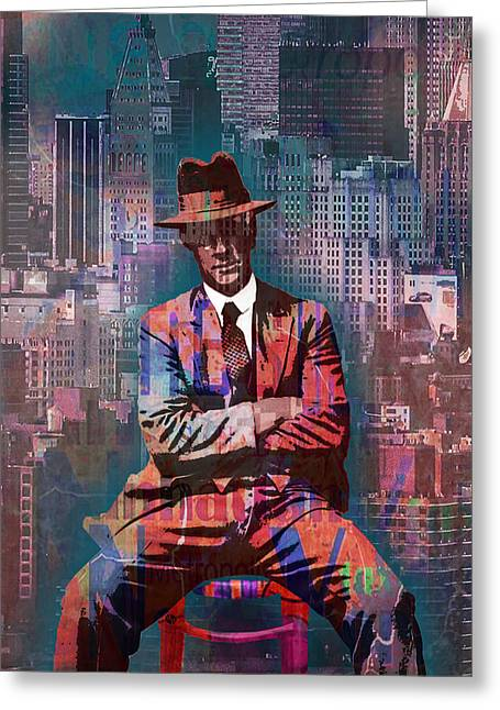 Tough Guy Greeting Cards - New York Man Seated City Background 2 Greeting Card by Tony Rubino