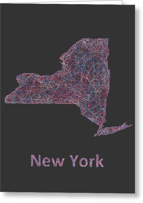 Multicolor Greeting Cards - New York map Greeting Card by David Zydd