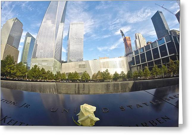 Ground Zero Greeting Cards - New York Memorial Greeting Card by Steven Lapkin