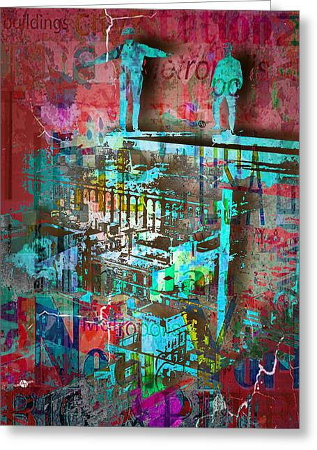 Art Of Building Mixed Media Greeting Cards - New York Men On Unfinished Skyscraper Red Greeting Card by Tony Rubino