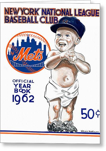 New York Mets Stadium Paintings Greeting Cards - New York Mets 1962 Yearbook Greeting Card by Big 88 Artworks
